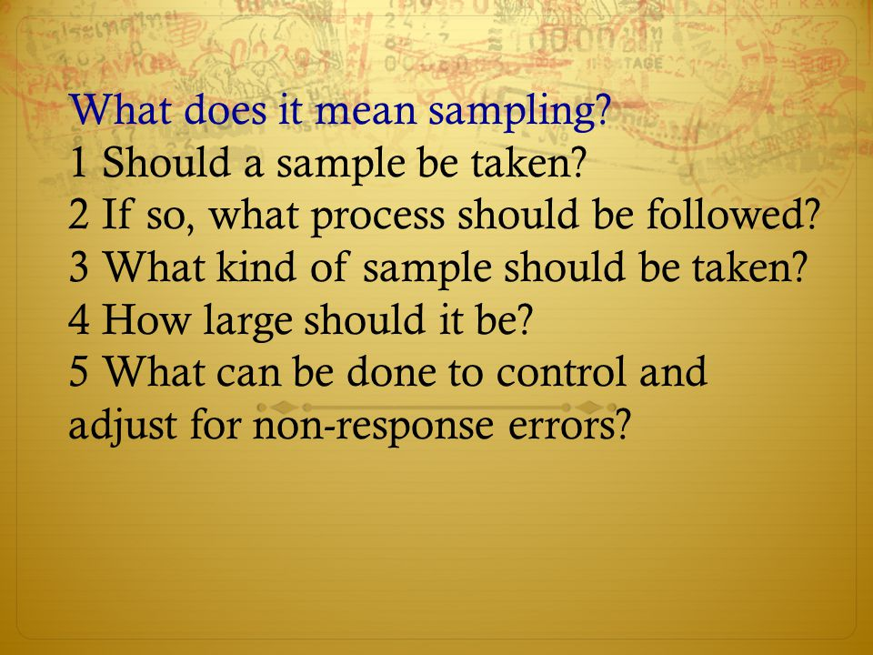 What does it mean sampling