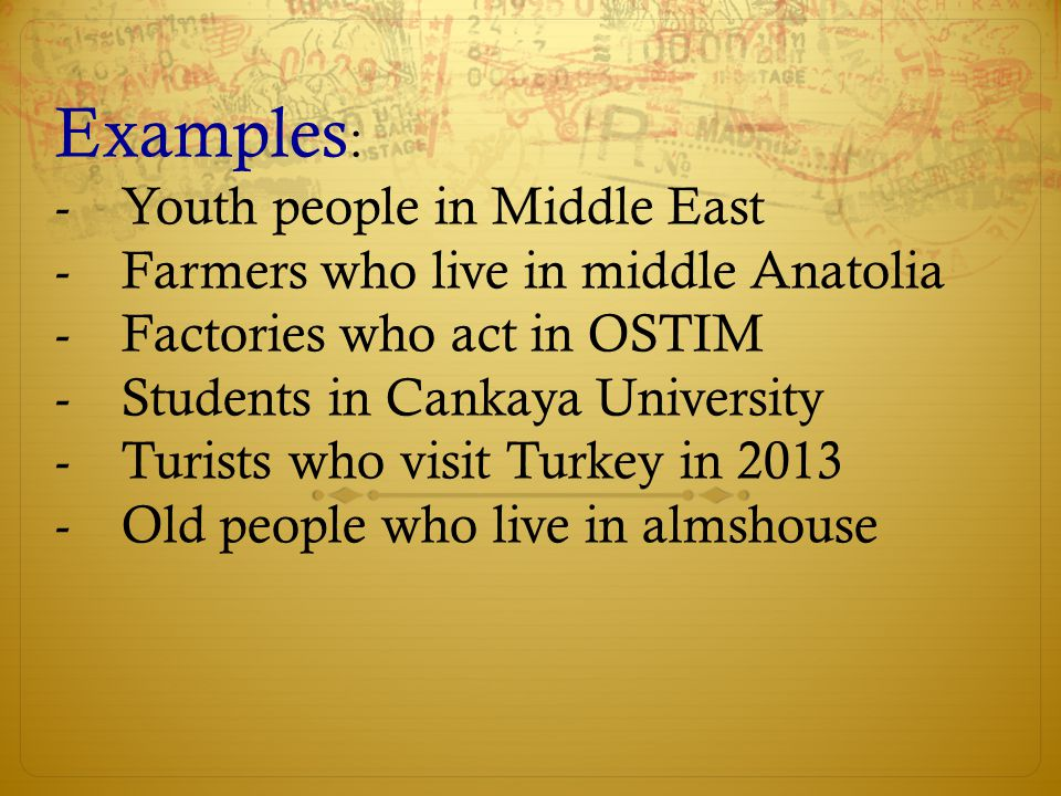 Examples: Youth people in Middle East