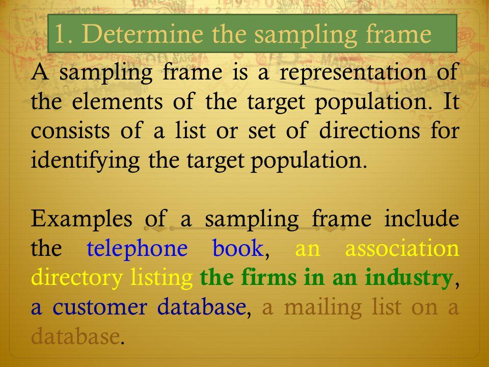 1. Determine the sampling frame