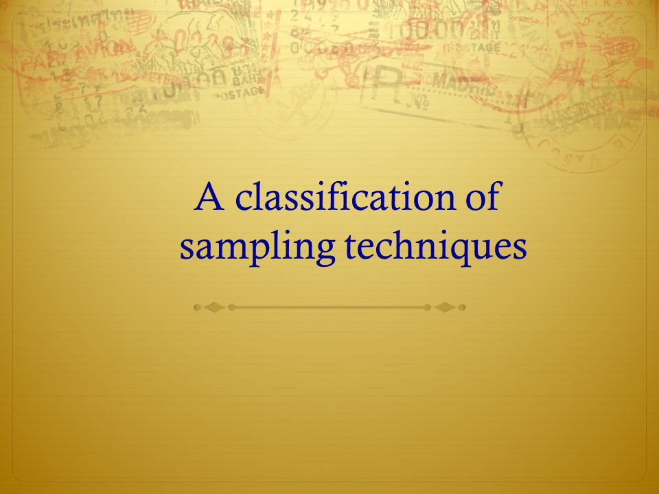 A classification of sampling techniques