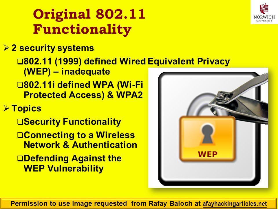 Original 802.11 Functionality