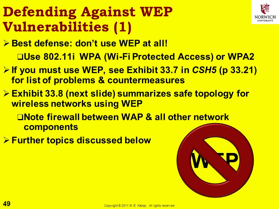 Defending Against WEP Vulnerabilities (1)
