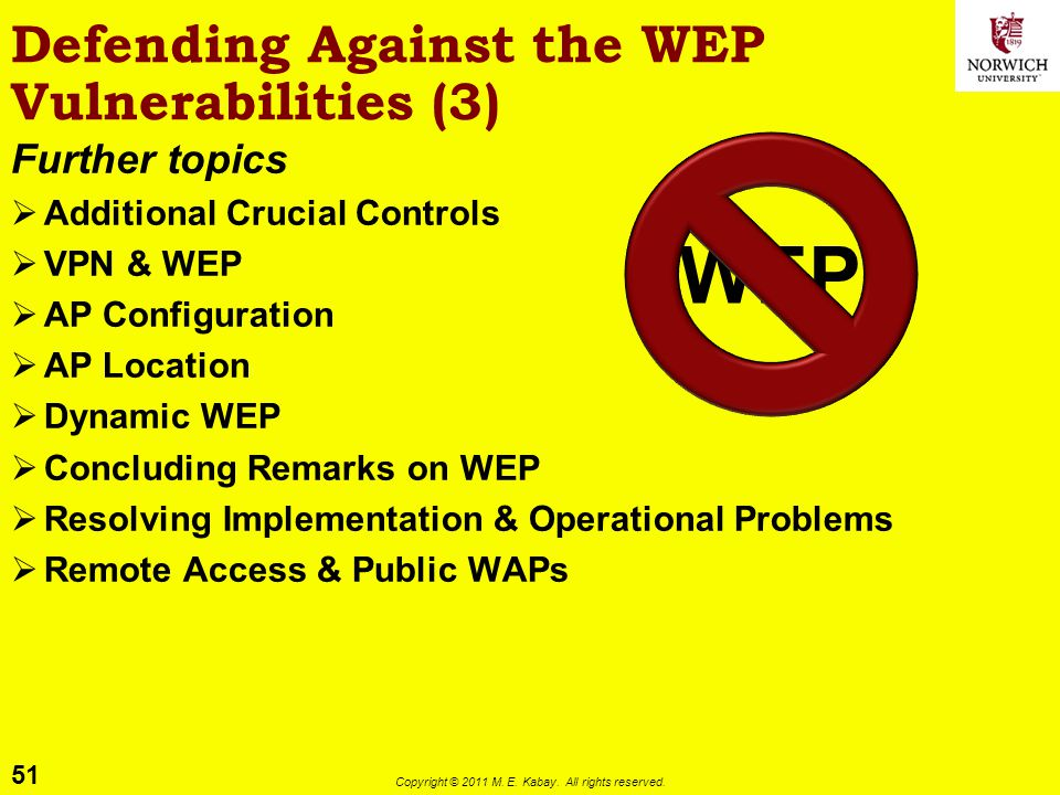 Defending Against the WEP Vulnerabilities (3)