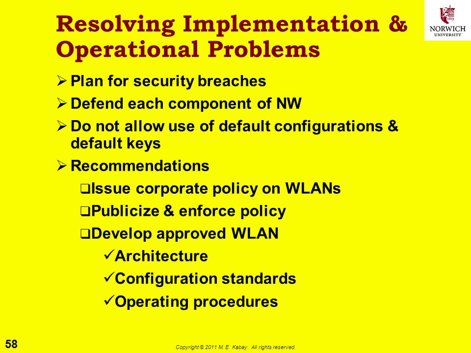 Resolving Implementation & Operational Problems