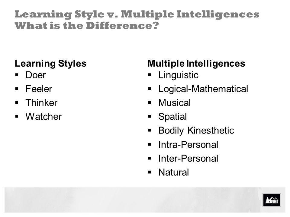 Learning Style v. Multiple Intelligences What is the Difference