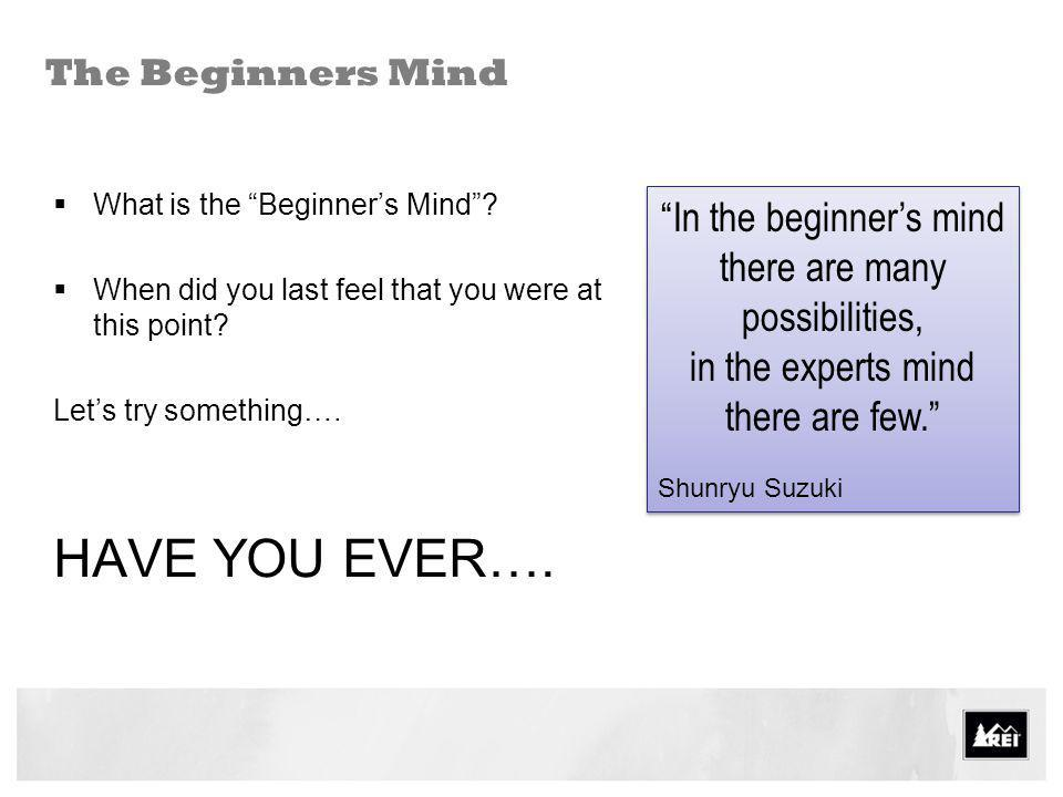HAVE YOU EVER…. In the beginner's mind there are many possibilities,