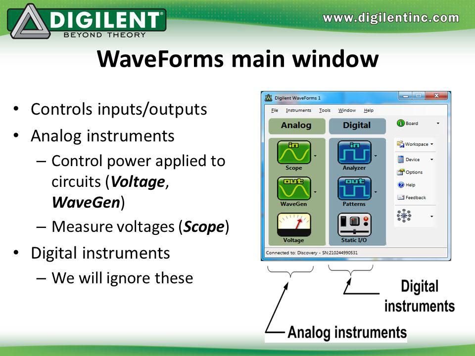 WaveForms main window Controls inputs/outputs Analog instruments