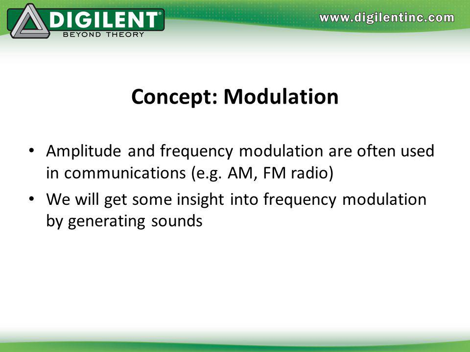 Concept: Modulation Amplitude and frequency modulation are often used in communications (e.g. AM, FM radio)