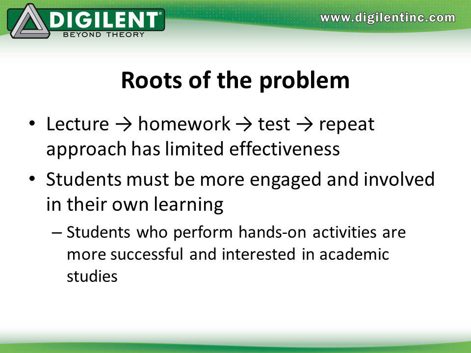 Roots of the problem Lecture → homework → test → repeat approach has limited effectiveness.