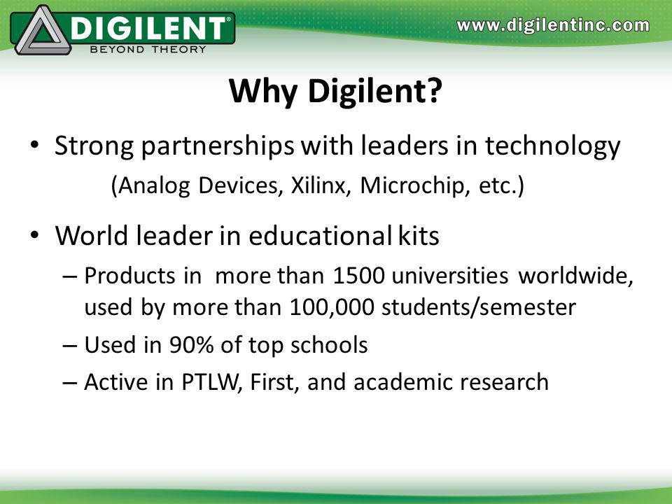 Why Digilent Strong partnerships with leaders in technology