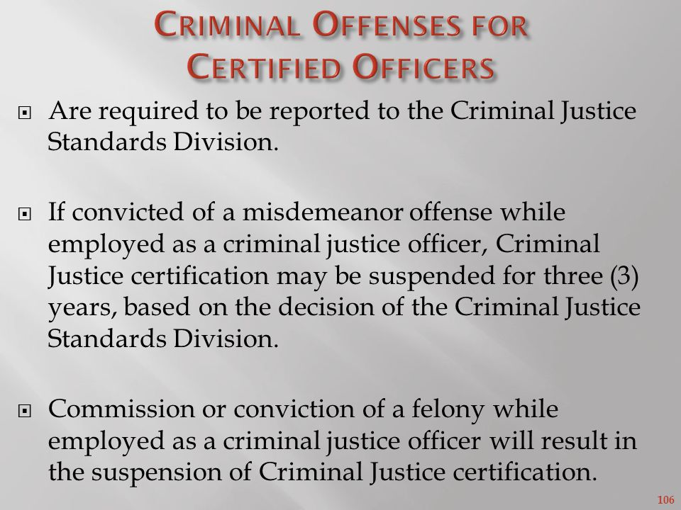 Criminal Offenses for Certified Officers