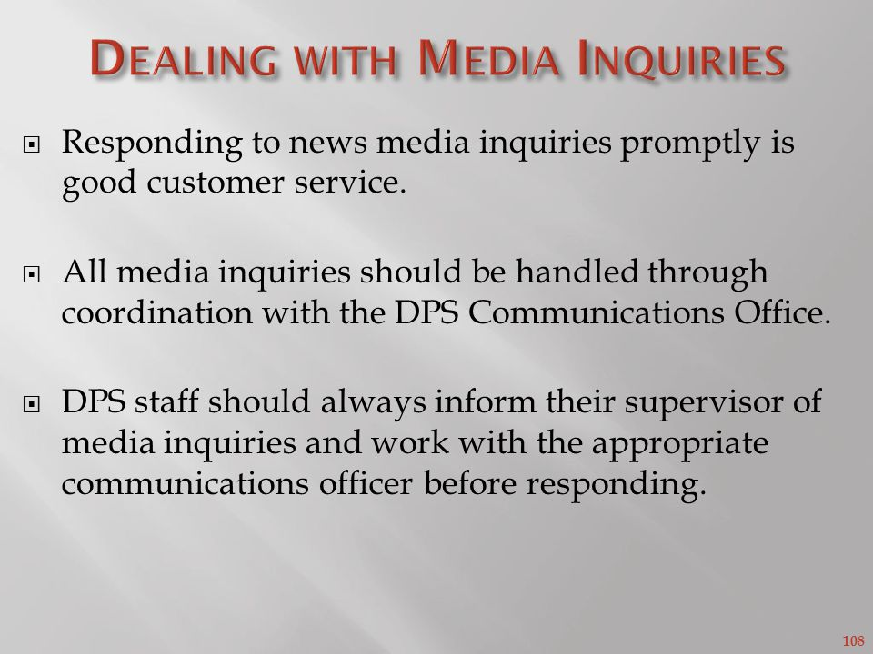 Dealing with Media Inquiries