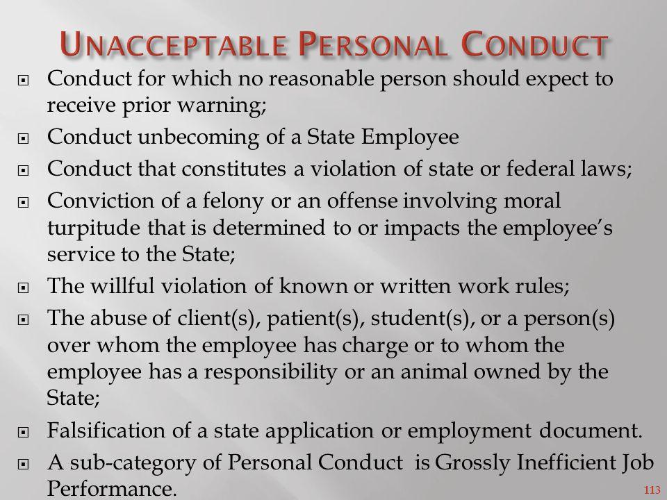 Unacceptable Personal Conduct