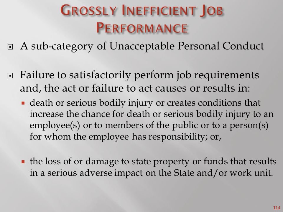 Grossly Inefficient Job Performance
