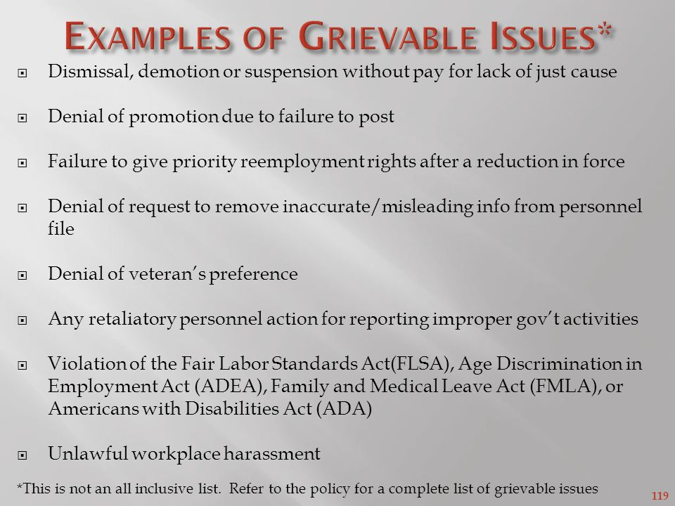 Examples of Grievable Issues*