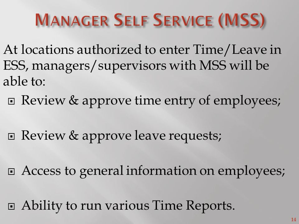 Manager Self Service (MSS)