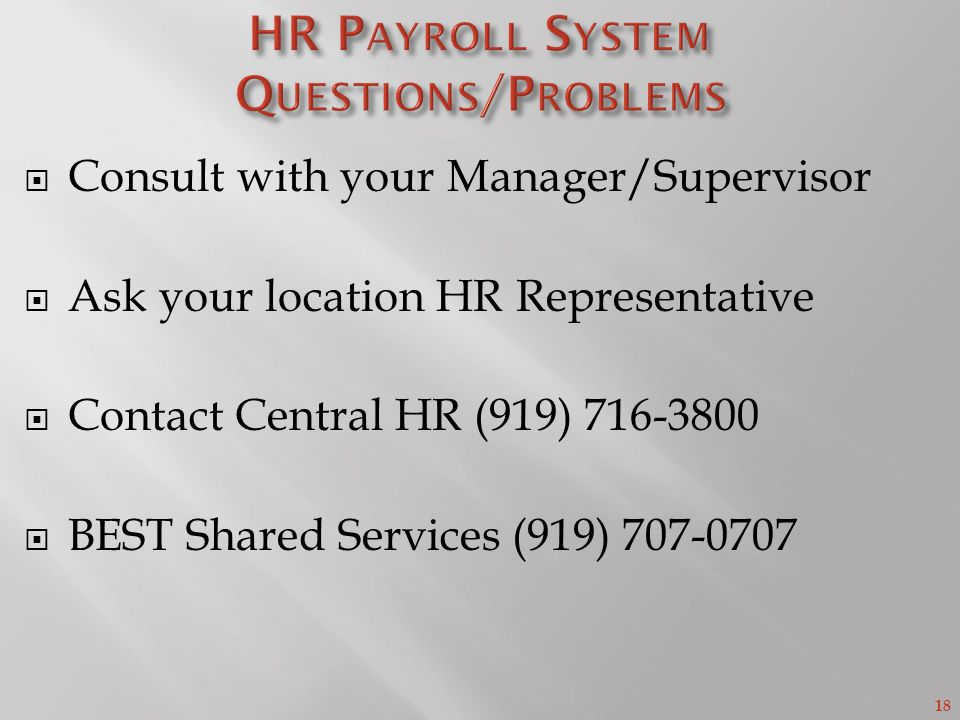 HR Payroll System Questions/Problems