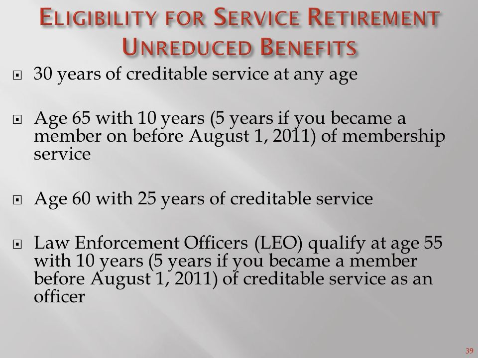Eligibility for Service Retirement Unreduced Benefits