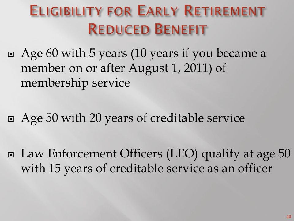 Eligibility for Early Retirement Reduced Benefit