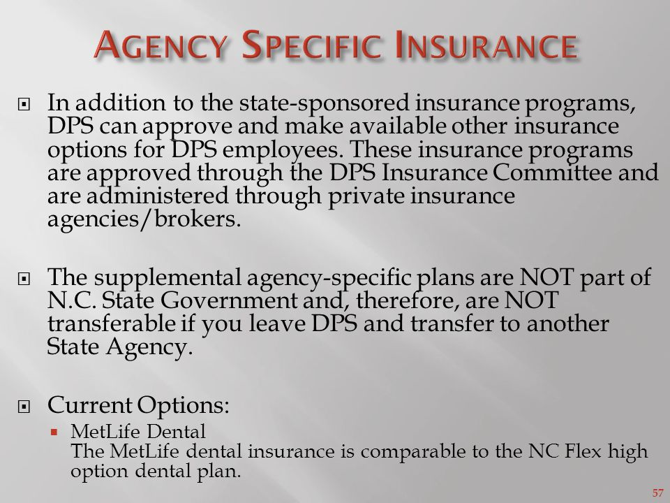 Agency Specific Insurance