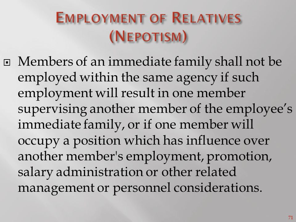 Employment of Relatives (Nepotism)