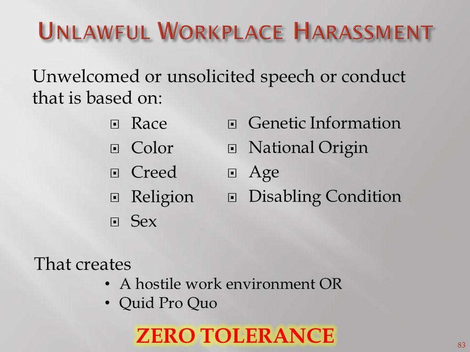 Unlawful Workplace Harassment