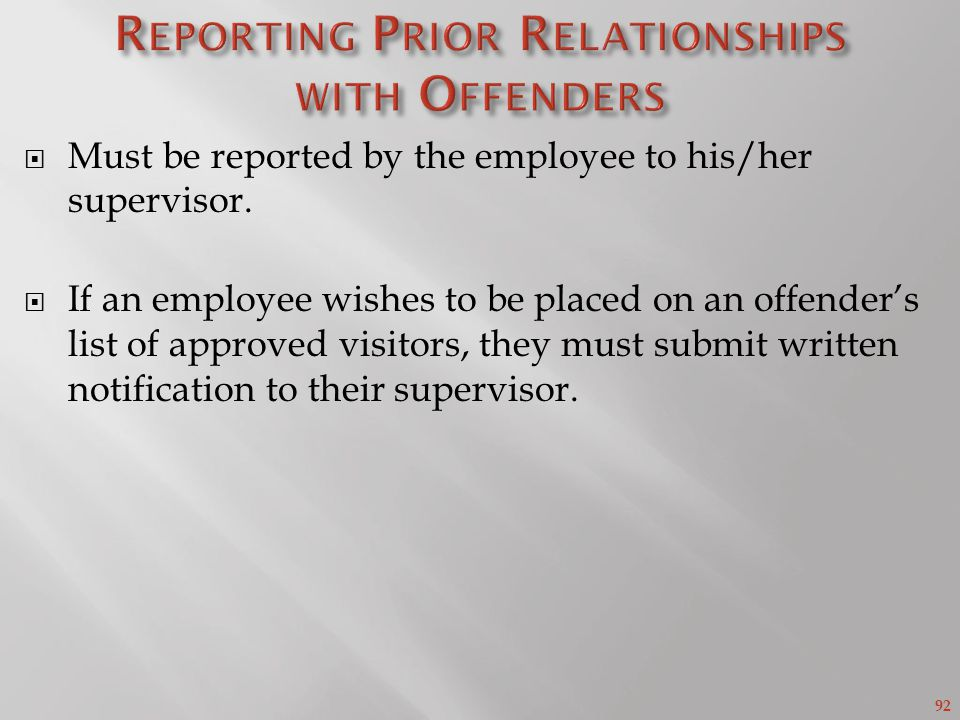 Reporting Prior Relationships with Offenders