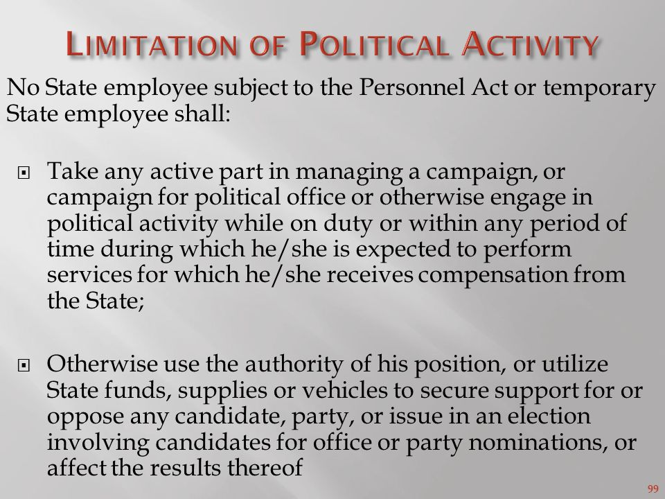 Limitation of Political Activity