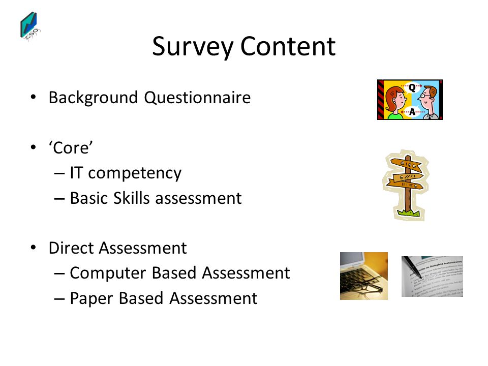 Survey Content Background Questionnaire 'Core' IT competency