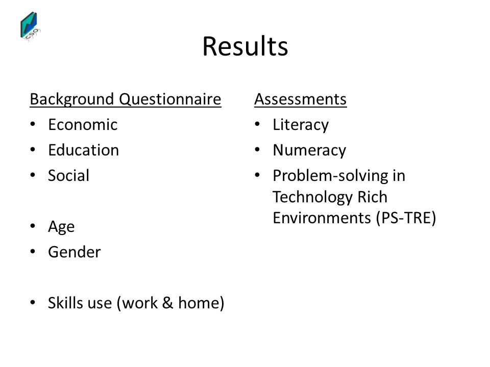 Results Background Questionnaire Economic Education Social Age Gender