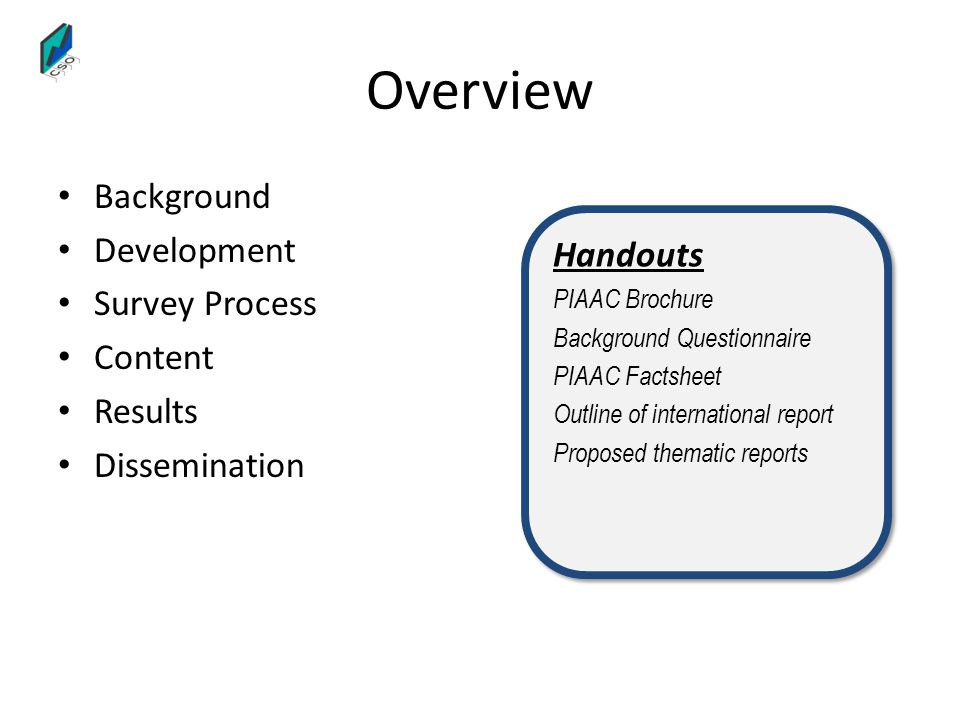 Overview Background Development Survey Process Content Results