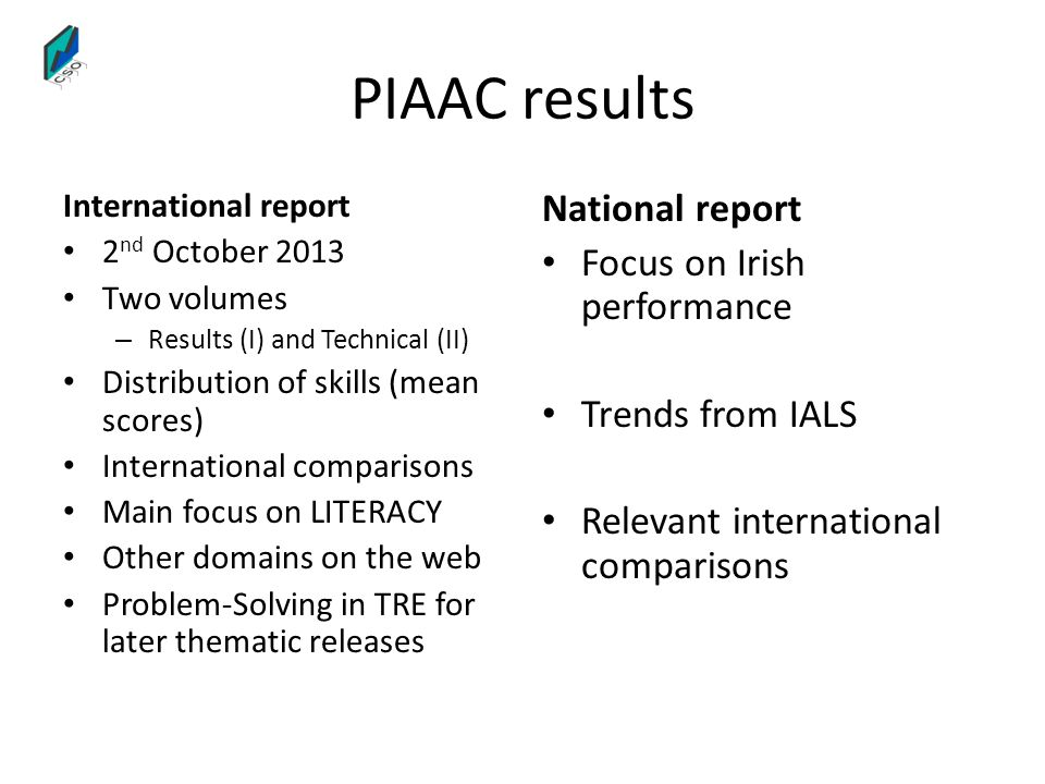PIAAC results National report Focus on Irish performance