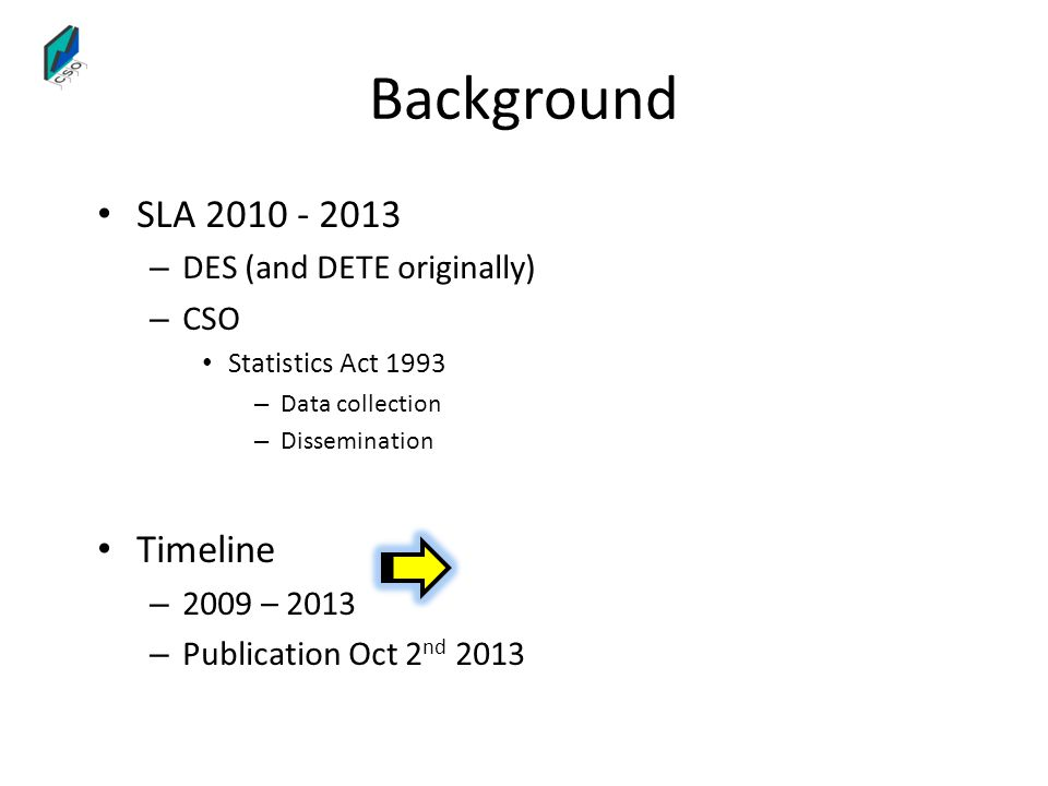 Background SLA 2010 - 2013 Timeline DES (and DETE originally) CSO