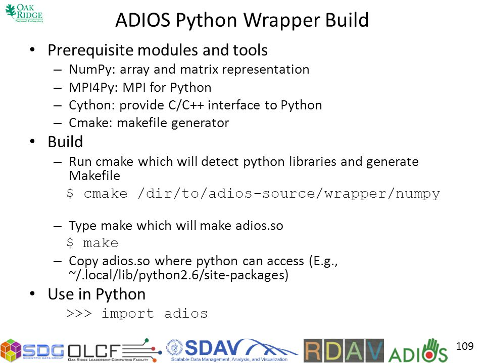 ADIOS Python Wrapper Build