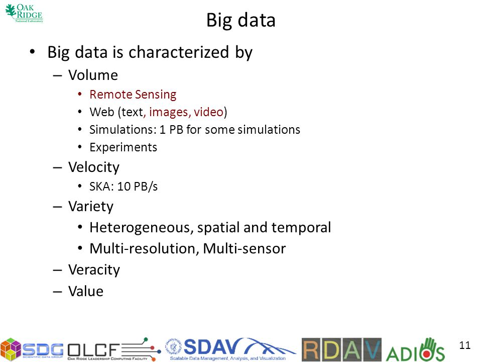 Big data Big data is characterized by Volume Velocity Variety