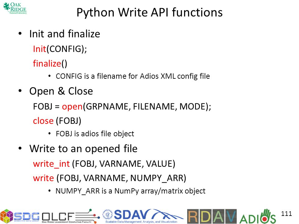 Python Write API functions