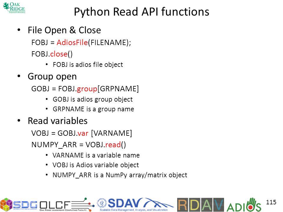 Python Read API functions