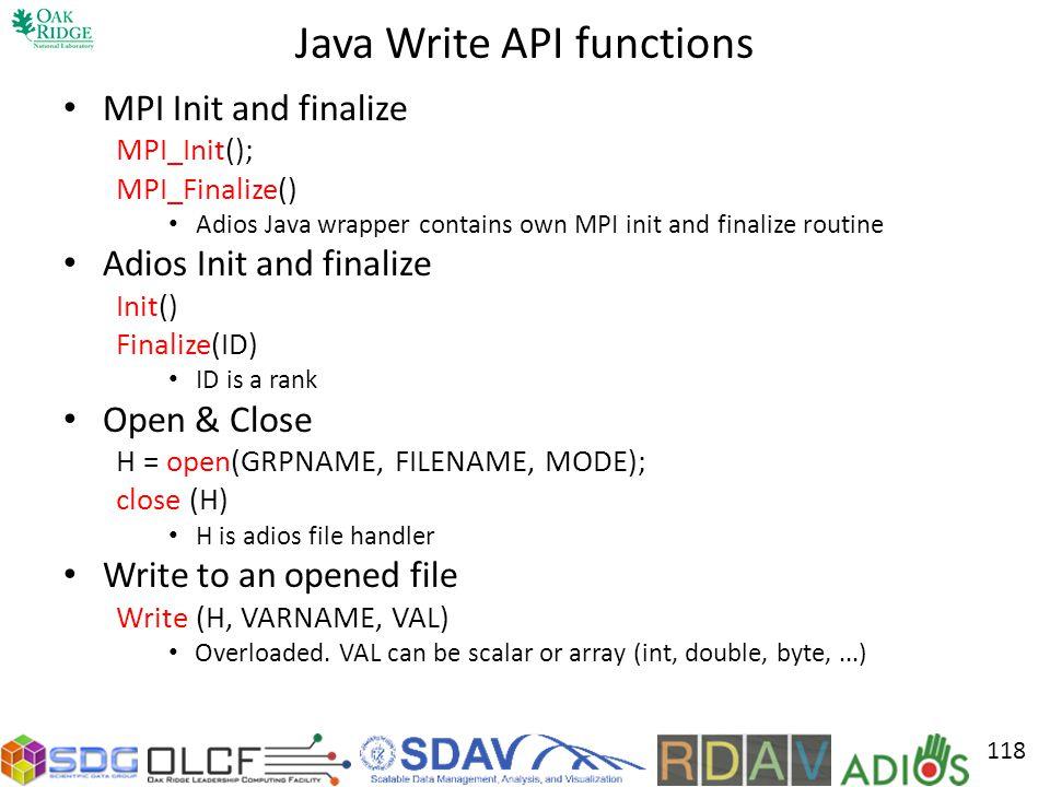 Java Write API functions