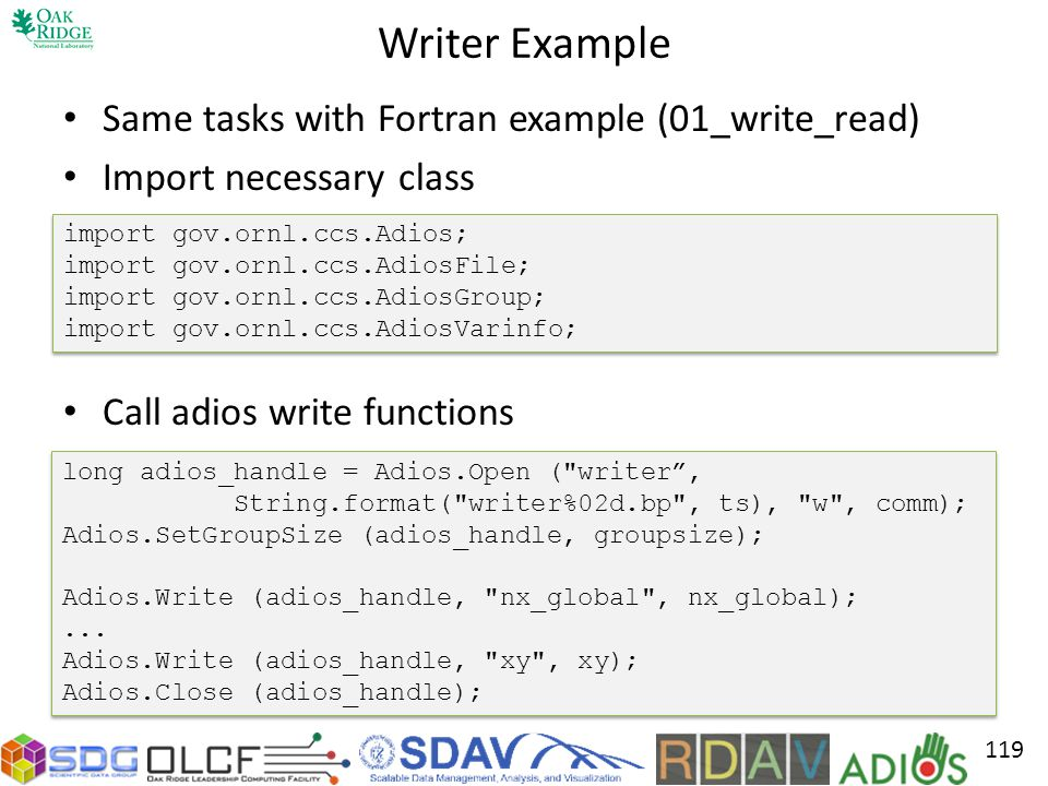 Writer Example Same tasks with Fortran example (01_write_read)