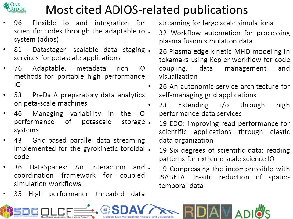 Most cited ADIOS-related publications