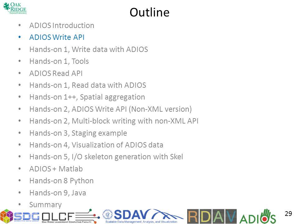 Outline ADIOS Introduction ADIOS Write API