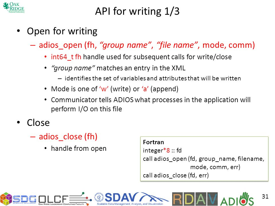API for writing 1/3 Open for writing Close