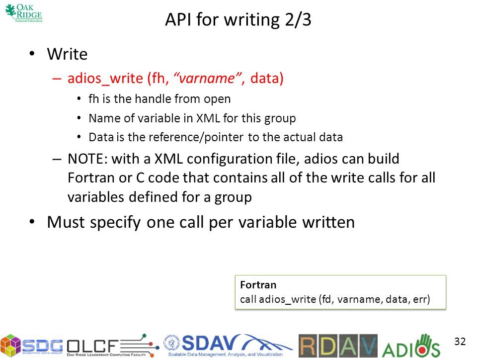 API for writing 2/3 Write Must specify one call per variable written
