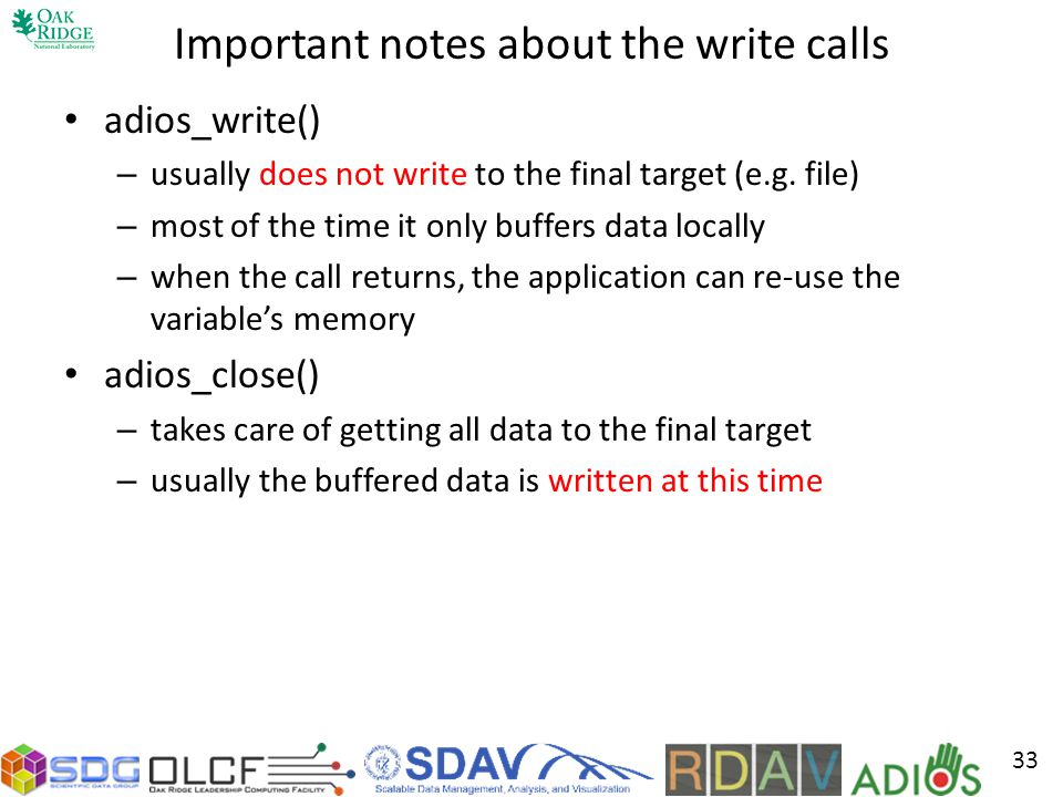 Important notes about the write calls
