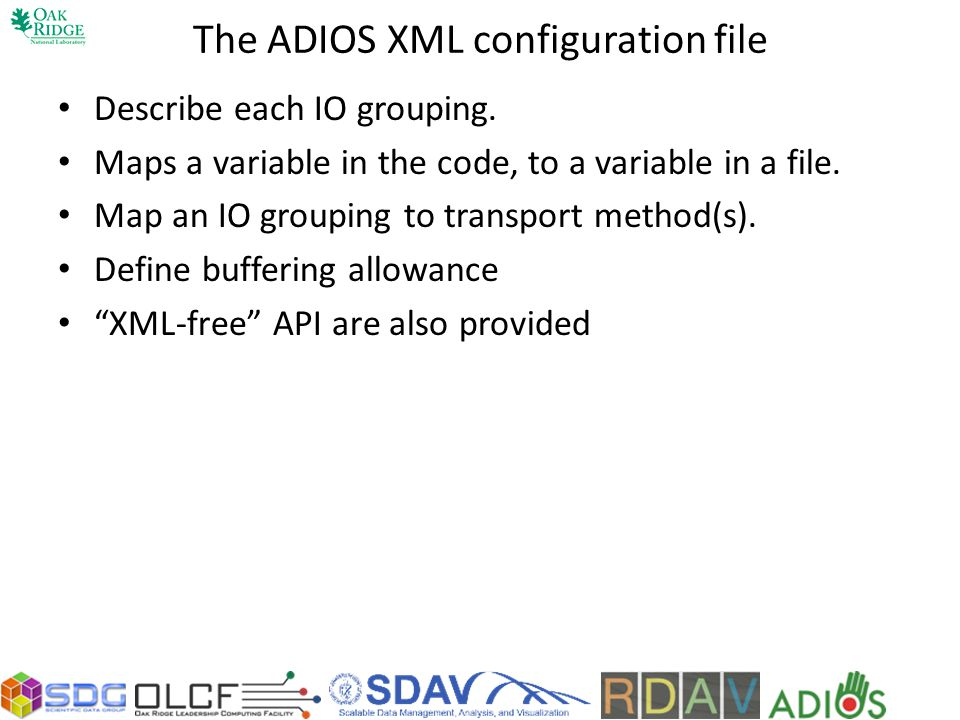 The ADIOS XML configuration file
