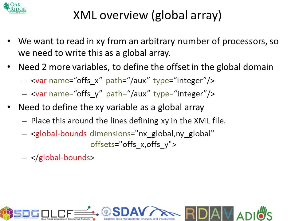 XML overview (global array)