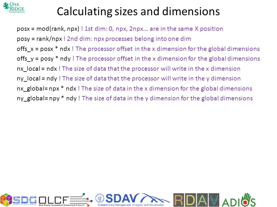 Calculating sizes and dimensions