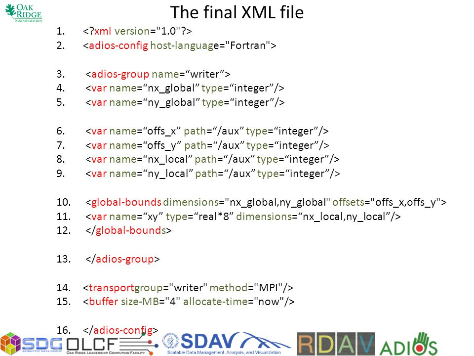 The final XML file < xml version= 1.0 >