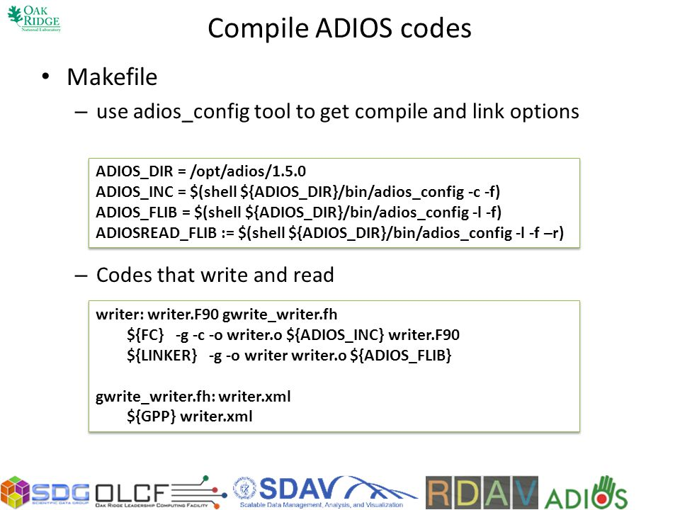 Compile ADIOS codes Makefile