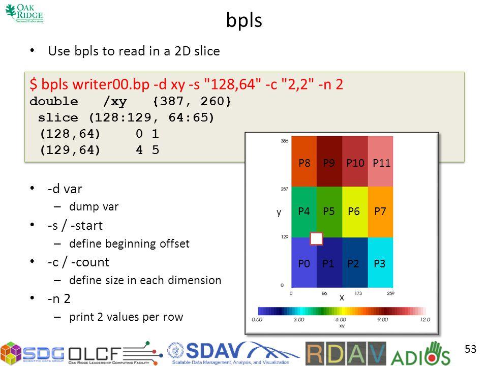 bpls $ bpls writer00.bp -d xy -s 128,64 -c 2,2 -n 2